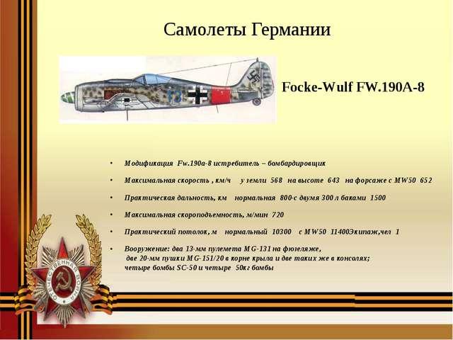 Focke-Wulf FW.190A-8 Модификация Fw.190a-8 истребитель – бомбардировщик Мак...