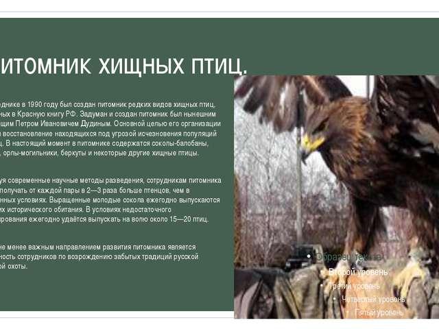 Питомник хищных птиц. В заповеднике в 1990 году был создан питомник редких ви...