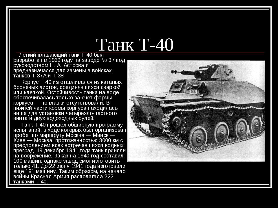 Танк Т-40 Легкий плавающий танк Т-40 был разработан в 1939 году на заводе №...