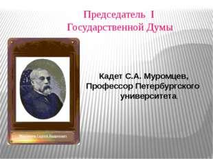 Председатель I Государственной Думы Кадет С.А. Муромцев, Профессор Петербургс