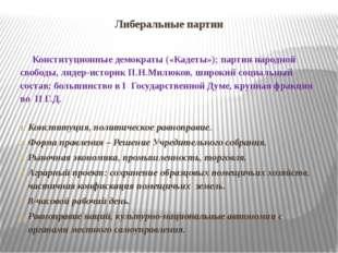 Либеральные партии Конституционные демократы («Кадеты»); партия народной своб