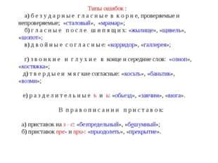 Типы ошибок : а) б е з у д а р н ы е г л а с н ы е в к о р н е, проверяемые и