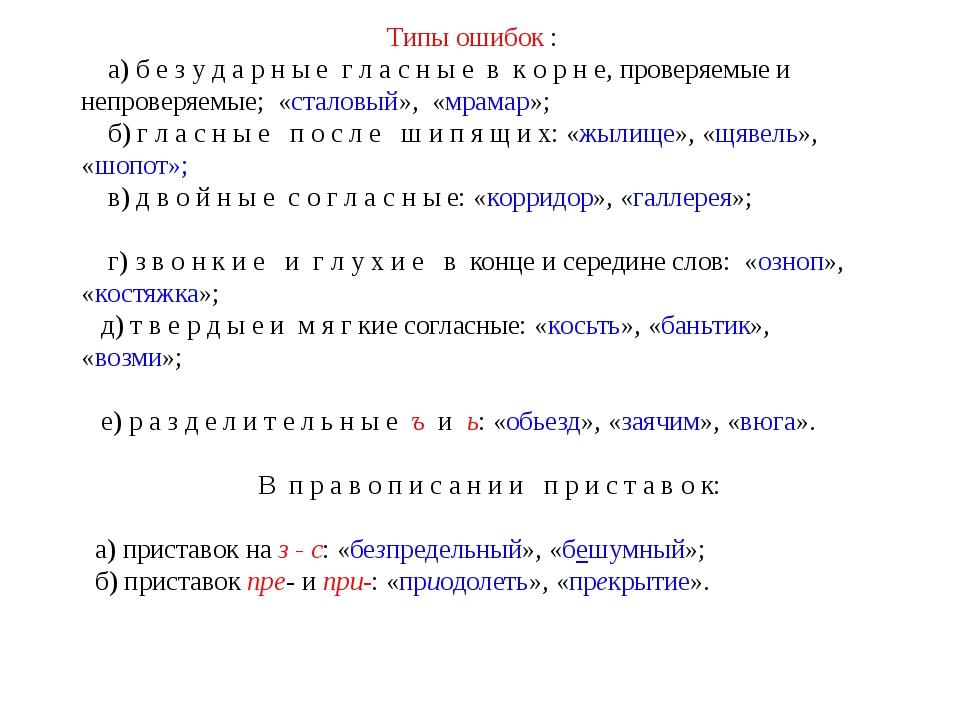 Типы ошибок : а) б е з у д а р н ы е г л а с н ы е в к о р н е, проверяемые и...