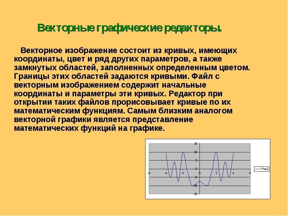 Векторные графические редакторы. Векторное изображение состоит из кривых, име...