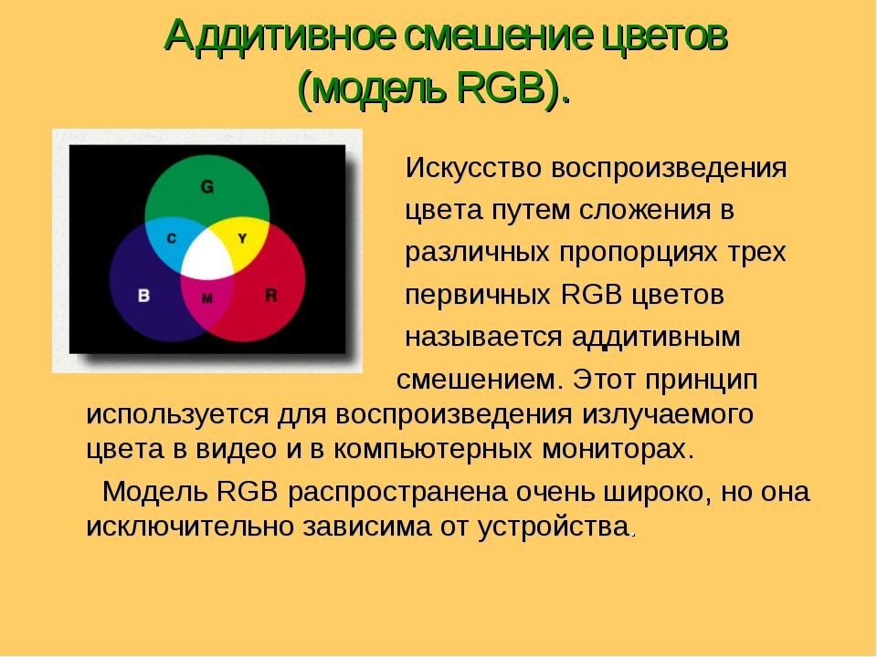 Аддитивное смешение цветов (модель RGB). Искусство воспроизведения цвета пут...