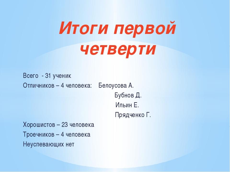 Всего - 31 ученик Отличников – 4 человека: Белоусова А. Бубнов Д. Ильин Е. Пр...
