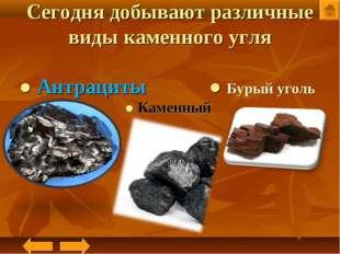 Сегодня добывают различные виды каменного угля ● Антрациты ● Бурый уголь ● Ка