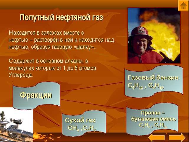 Находится в залежах вместе с нефтью – растворён в ней и находится над нефтью...