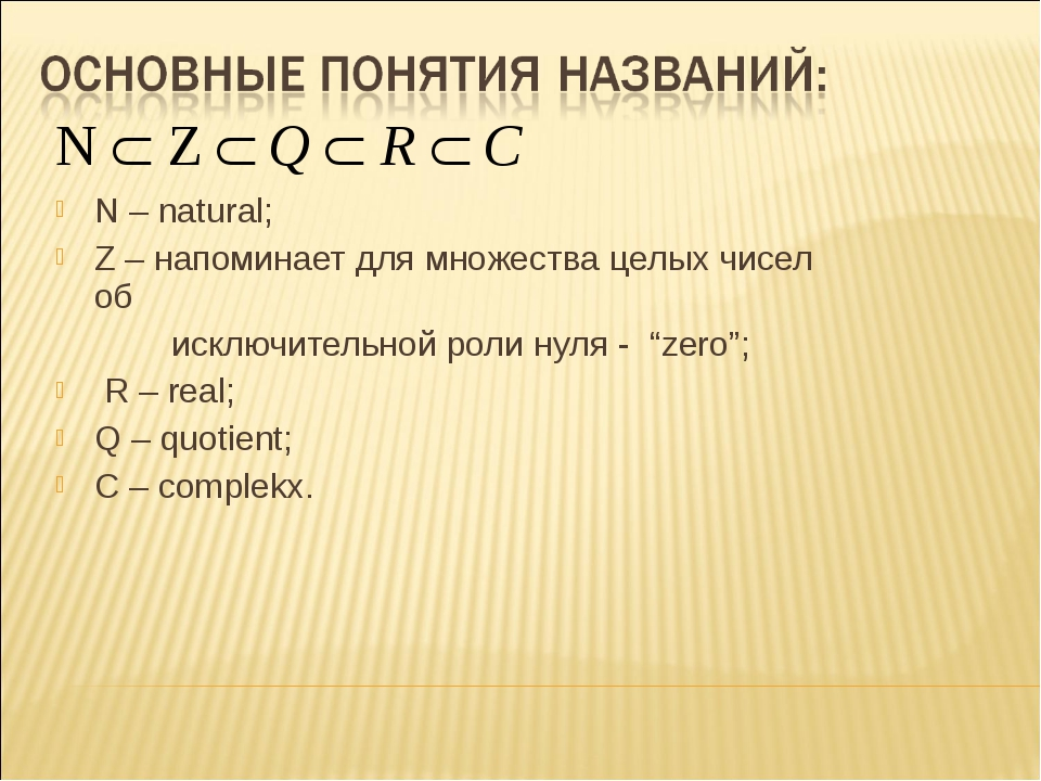 N – natural; Z – напоминает для множества целых чисел об исключительной роли...