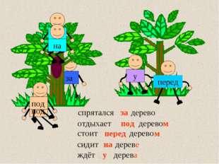 сидит … дерево ждёт … дерево у дерева стоит … дерево спрятался … дерево за пе