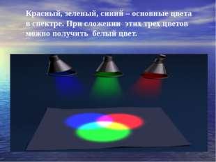 Красный, зеленый, синий – основные цвета в спектре. При сложении этих трех ц