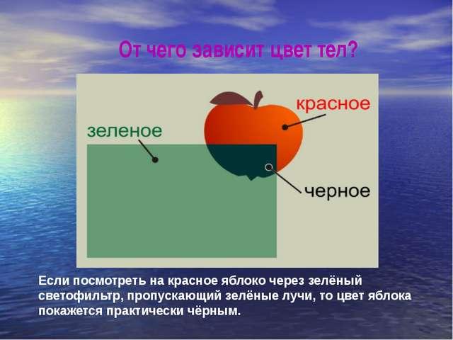 От чего зависит цвет тел? Если посмотреть на красное яблоко через зелёный све...
