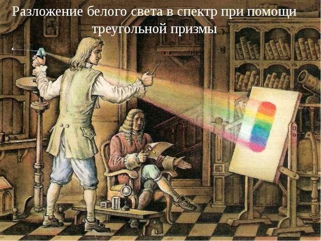 Разложение белого света в спектр при помощи треугольной призмы