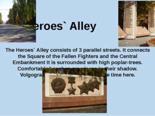 The Heroes` Alley The Heroes` Alley consists of 3 parallel streets. It connec
