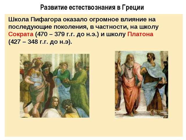 Развитие естествознания в Греции Школа Пифагора оказало огромное влияние на п...