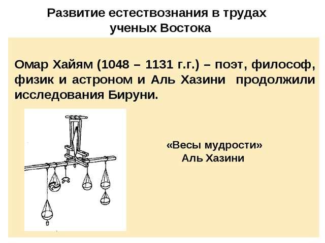 Развитие естествознания в трудах ученых Востока Омар Хайям (1048 – 1131 г.г.)...