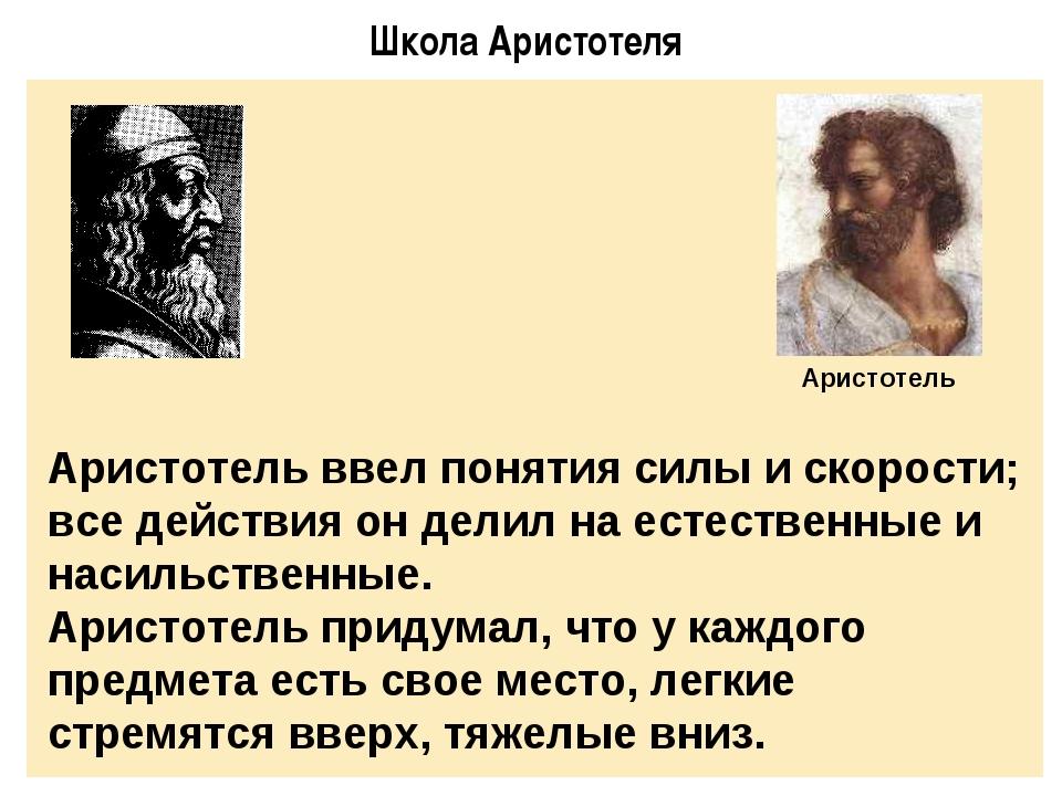 Школа Аристотеля Аристотель ввел понятия силы и скорости; все действия он дел...