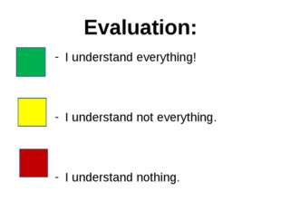 Evaluation: I understand everything! I understand not everything. I understan