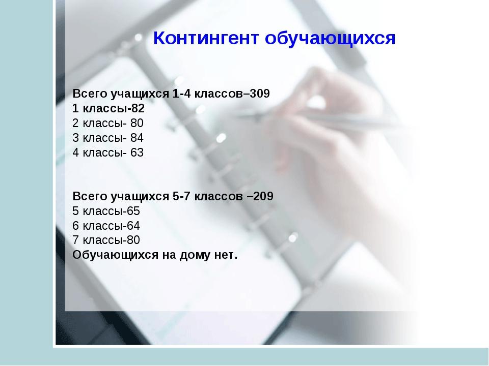 Контингент обучающихся Всего учащихся 1-4 классов–309 1 классы-82 2 классы-...