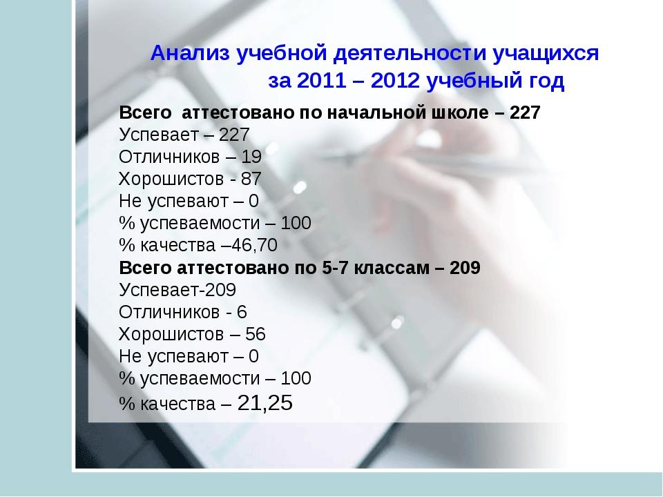 Анализ учебной деятельности учащихся за 2011 – 2012 учебный год Всего аттест...
