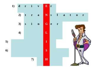1)drivEr 2)traNslator 3)sinGer 4)L