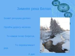 Зимняя река Белая. Бежит речушка далеко. Пройти дорогу нелегко. То камни точи