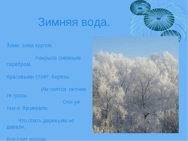 Зимняя вода. Зима, зима кругом. Накрыла снежным серебром. Красивыми стоят бер...