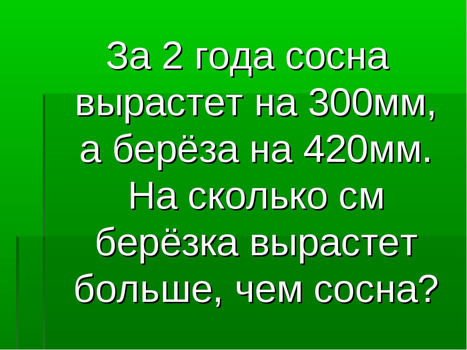 За 2 года сосна вырастет на 300мм, а берёза на 420мм. На сколько см берёзка в...