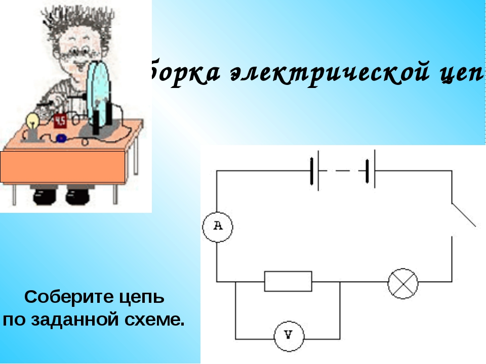 Сборка электрической цепи. Соберите цепь по заданной схеме.