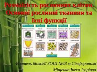 Розмаїтість рослинних клітин. Основні рослинні тканини та їхні функції Вчител