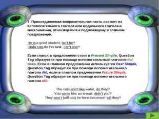 1. Присоединяемая вопросительная часть состоит из вспомогательного глагола ил