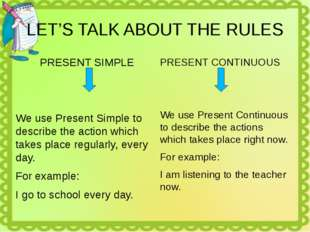 LET'S TALK ABOUT THE RULES PRESENT SIMPLE We use Present Simple to describe t