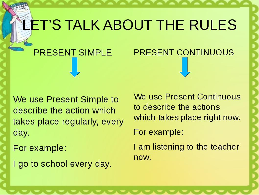 LET'S TALK ABOUT THE RULES PRESENT SIMPLE We use Present Simple to describe t...