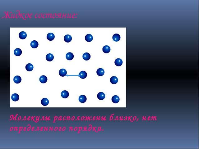 Жидкое состояние: Молекулы расположены близко, нет определенного порядка.