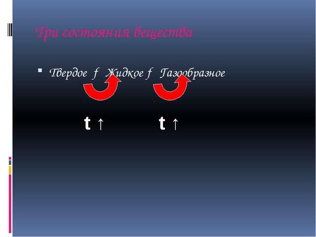 Три состояния вещества Твердое → Жидкое → Газообразное t ↑ t ↑