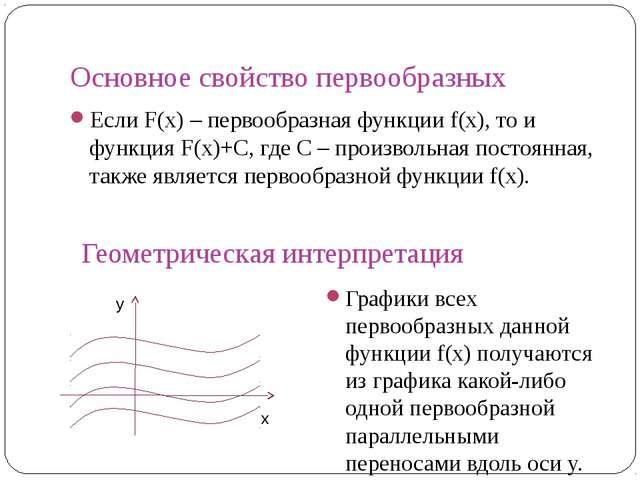 Основное свойство первообразных Если F(x) – первообразная функции f(x), то и...