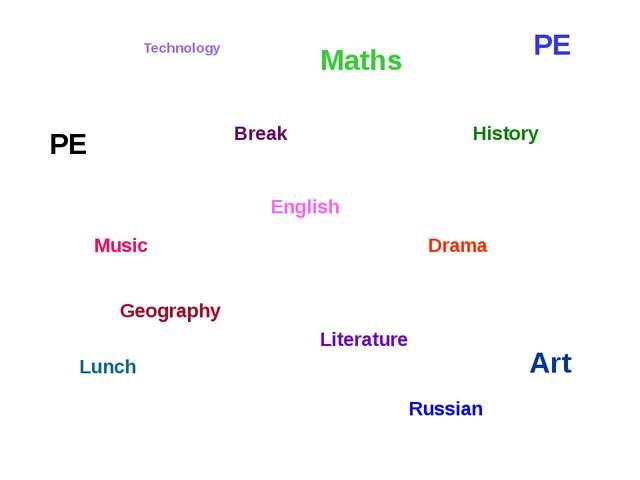 Art Literature Drama Geography History English PE PE Lunch Technology Break M...