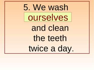 5. We wash … and clean the teeth twice a day. ourselves