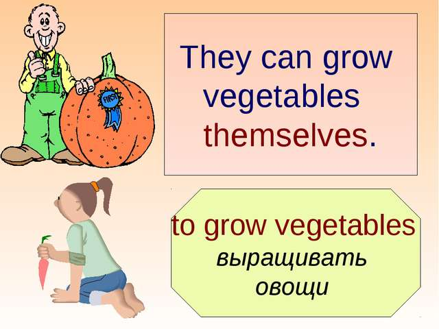 to grow vegetables выращивать овощи They can grow vegetables themselves.