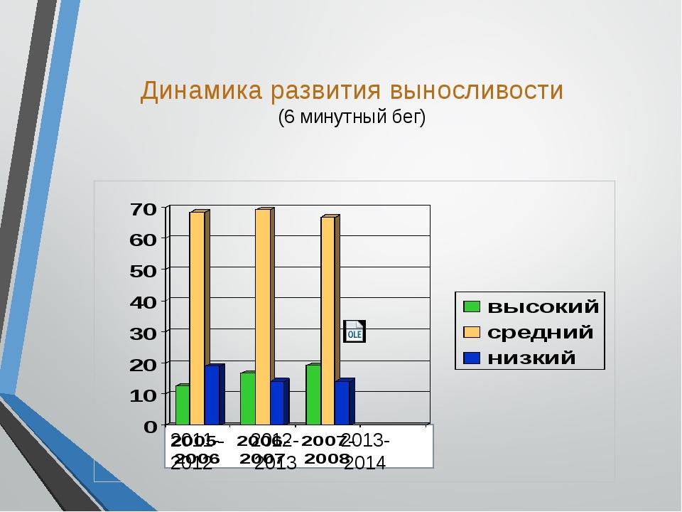 Динамика развития выносливости (6 минутный бег) 2011- 2012- 2013- 2012 2013...