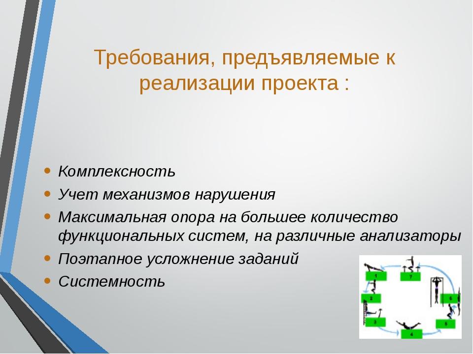 Требования, предъявляемые к реализации проекта : Комплексность Учет механизмо...