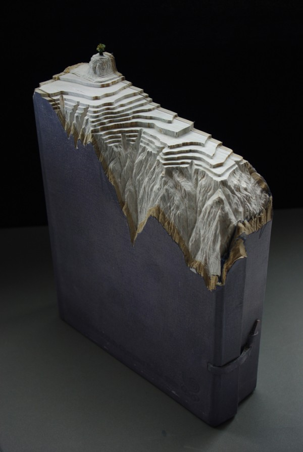 Carved Book Landscapes by Guy Laramee sculpture recycling paper books