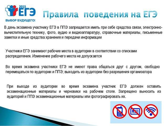 В день экзамена участнику ЕГЭ в ППЭ запрещается иметь при себе средства связи...