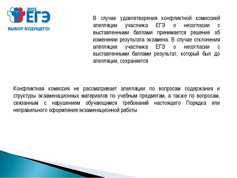 Конфликтная комиссия не рассматривает апелляции по вопросам содержания и стру...