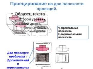 Проецирование на две плоскости проекций. Две проекции предмета : фронтальная