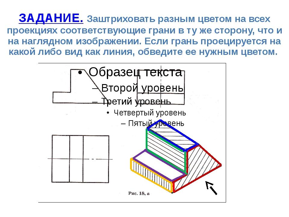 ЗАДАНИЕ. Заштриховать разным цветом на всех проекциях соответствующие грани в...