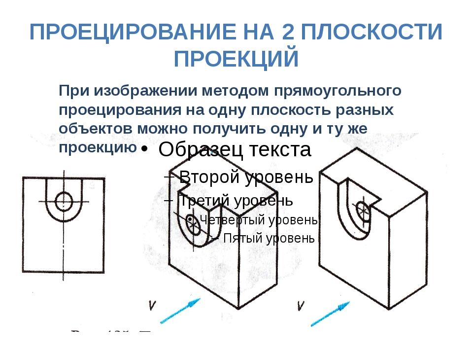 ПРОЕЦИРОВАНИЕ НА 2 ПЛОСКОСТИ ПРОЕКЦИЙ При изображении методом прямоугольного...