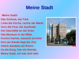 Meine Stadt Meine Stadt! Das Schloss, der Park Links die Kirche, rechts der M