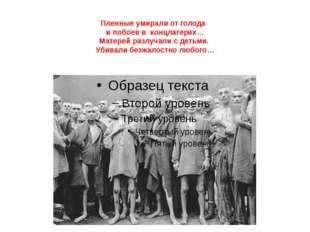 Пленные умирали от голода и побоев в концлагерях… Матерей разлучали с детьми.