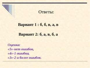 Вариант 1 : б, б, в, а, в Ответы: Вариант 2: б, а, в, б, а Оценка: «5»-нет ош